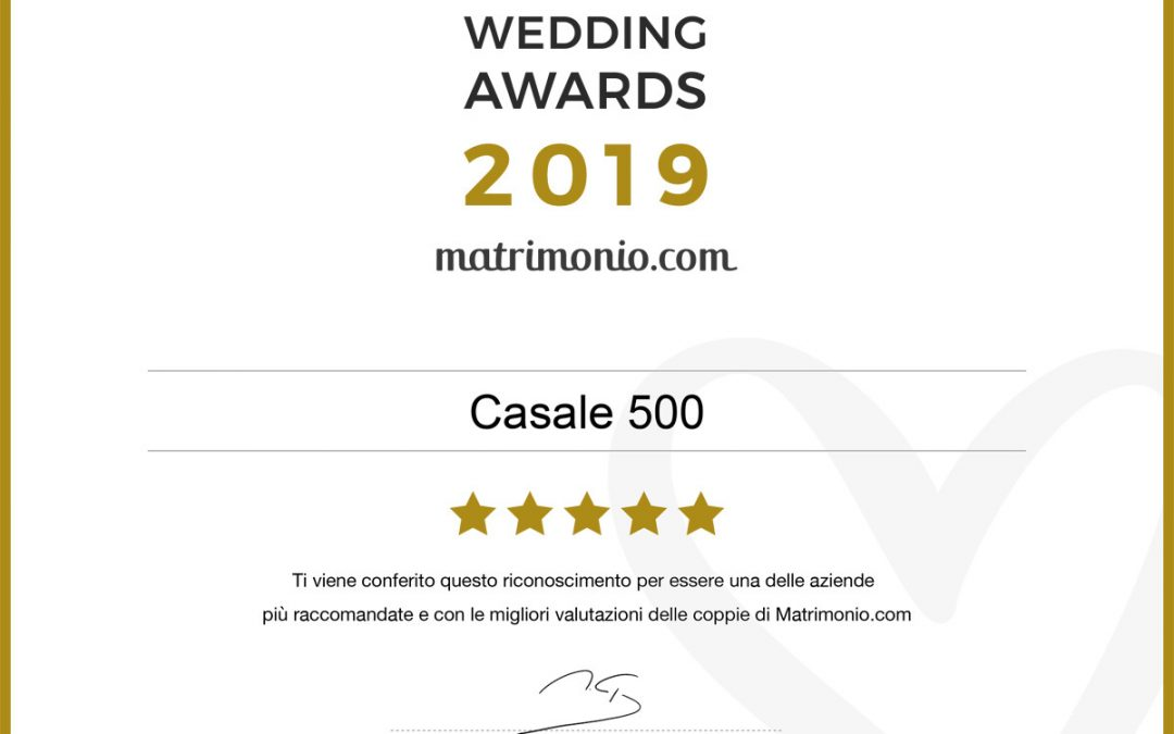Matrimonio.com premio Wedding Awards 2019