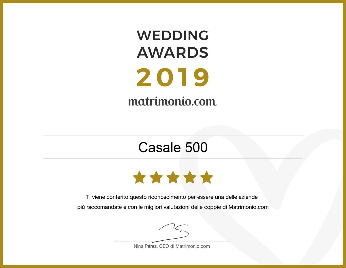 Matrimonio Com Premio Wedding Awards 2019 Casale 500