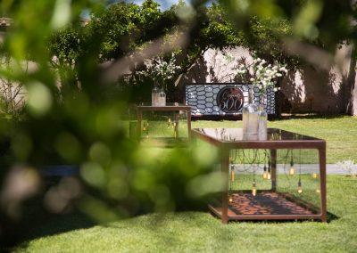 Giardino interno e postazioni buffet Casale 500 Location Matrimoni ed Eventi a Roma Sud
