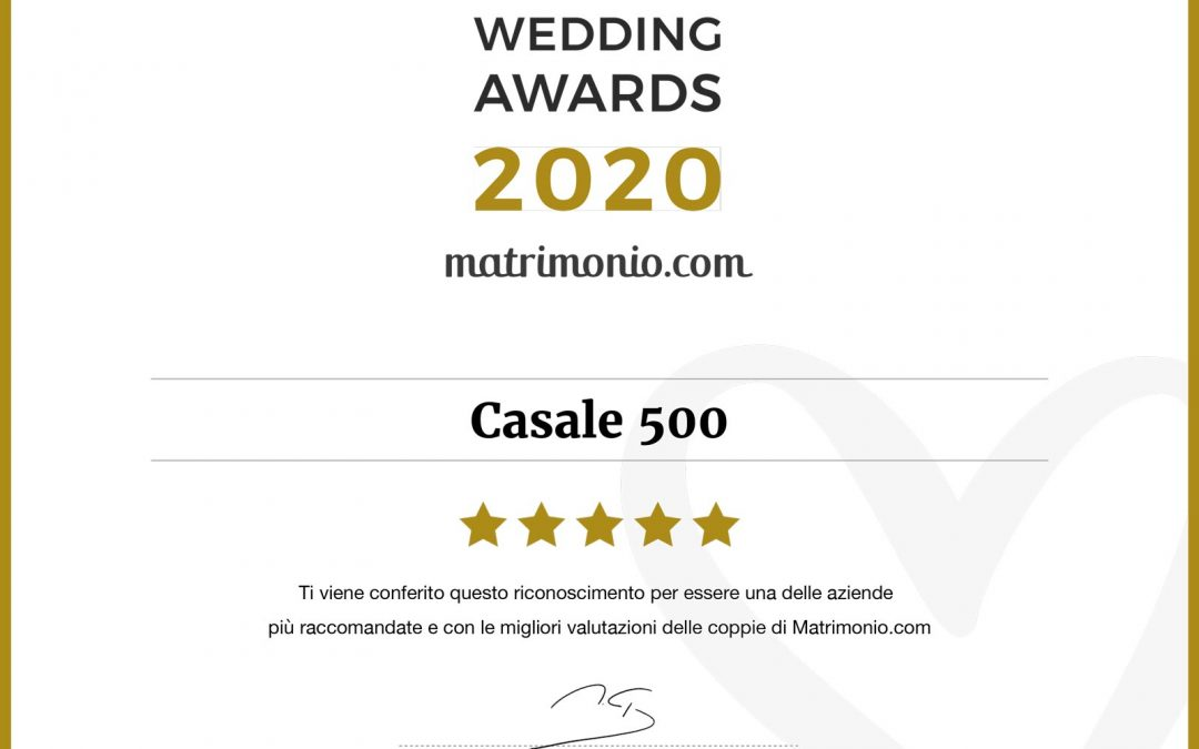 Matrimonio.com premio Wedding Awards 2020